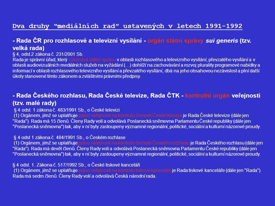 Dva druhy mediálních rad ustavených v letech 1991-1992 - Rada ČR pro rozhlasové a televizní vysílání - orgán státní správy sui generis (tzv.