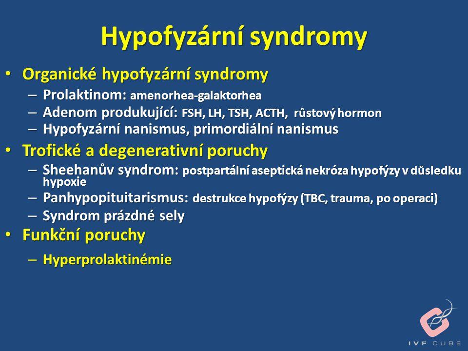 Hypofyzární syndromy • Organické hypofyzární syndromy – Prolaktinom: amenorhea-galaktorhea – Adenom produkující: FSH, LH, TSH, ACTH, růstový hormon –