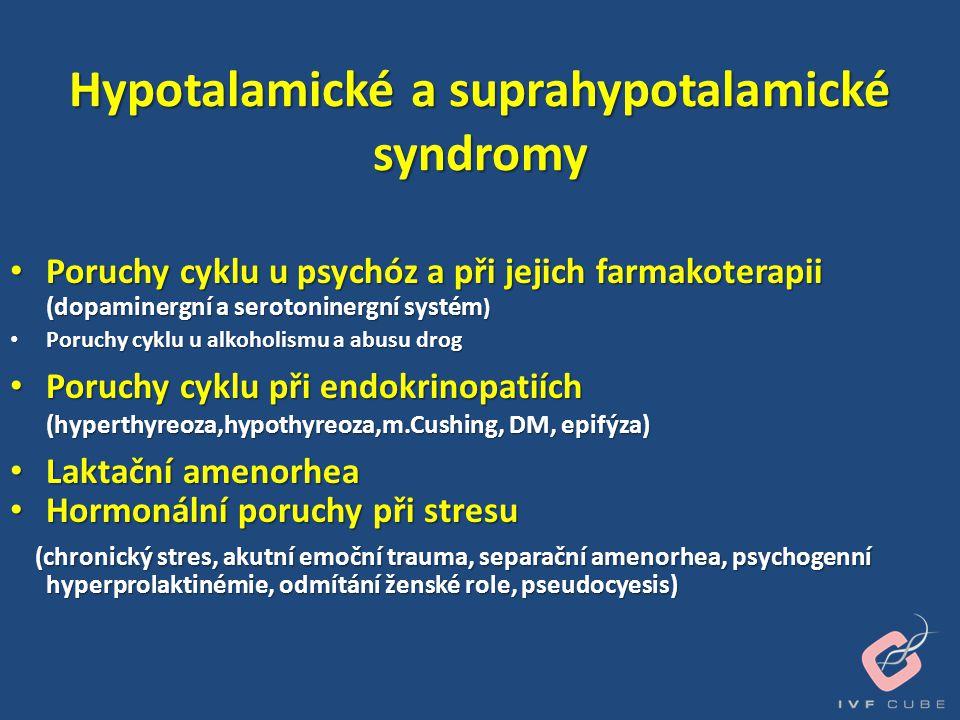 Hypotalamické a suprahypotalamické syndromy • Poruchy cyklu u psychóz a při jejich farmakoterapii (dopaminergní a serotoninergní systém ) • Poruchy cy