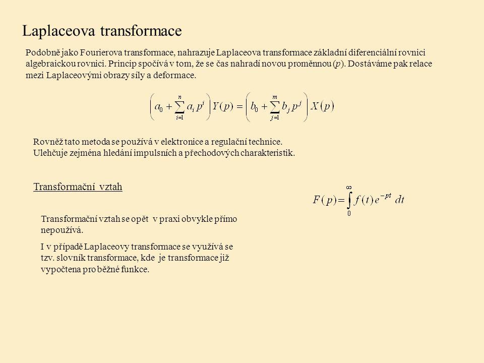 Laplaceova transformace Podobně jako Fourierova transformace, nahrazuje Laplaceova transformace základní diferenciální rovnici algebraickou rovnici.