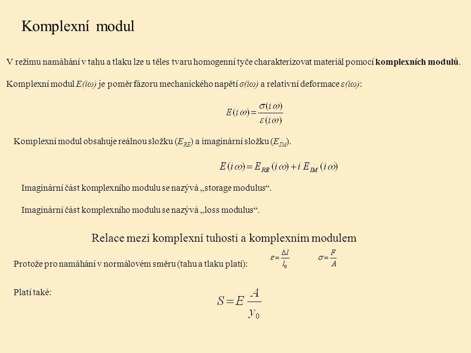 V režimu namáhání v tahu a tlaku lze u těles tvaru homogenní tyče charakterizovat materiál pomocí komplexních modulů.