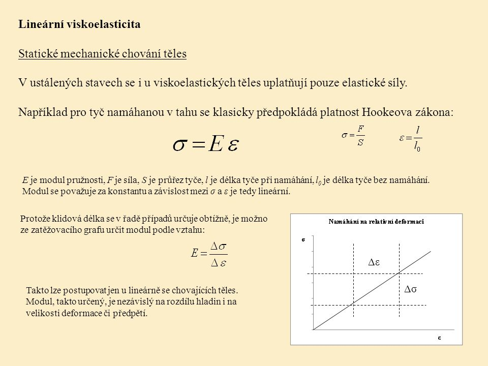 Lineární viskoelasticita Statické mechanické chování těles V ustálených stavech se i u viskoelastických těles uplatňují pouze elastické síly.