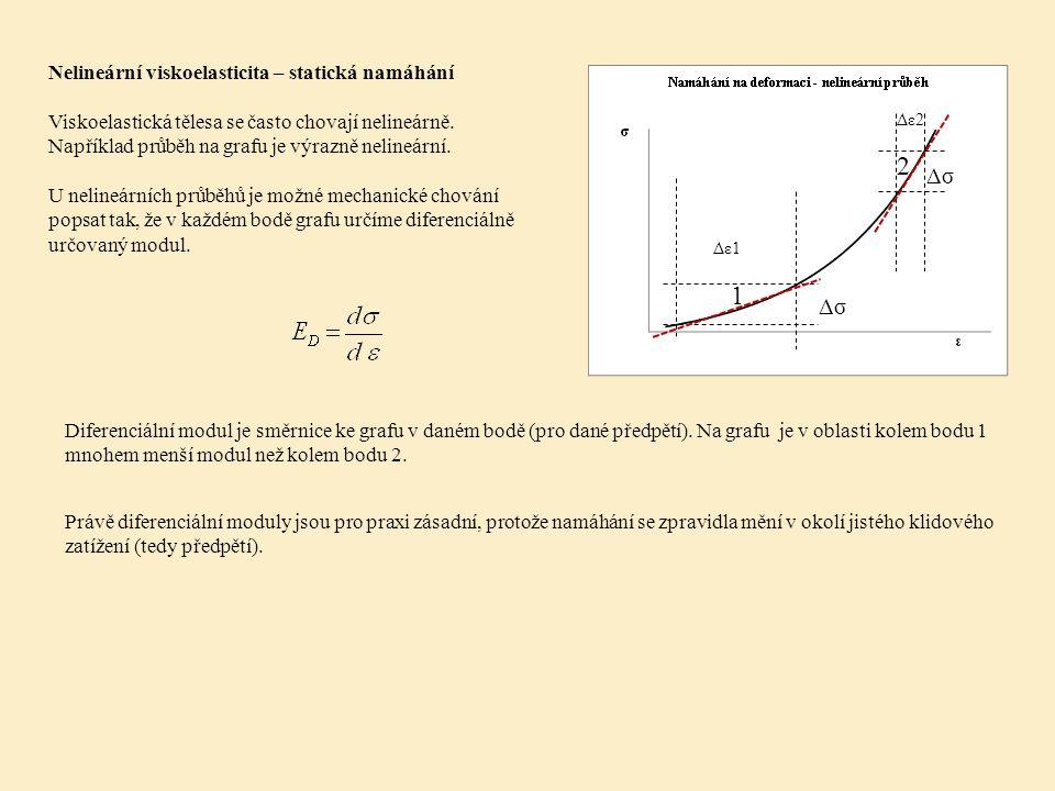 Nelineární viskoelasticita – statická namáhání Viskoelastická tělesa se často chovají nelineárně.