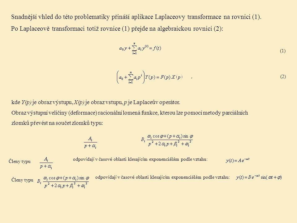 Snadnější vhled do této problematiky přináší aplikace Laplaceovy transformace na rovnici (1).