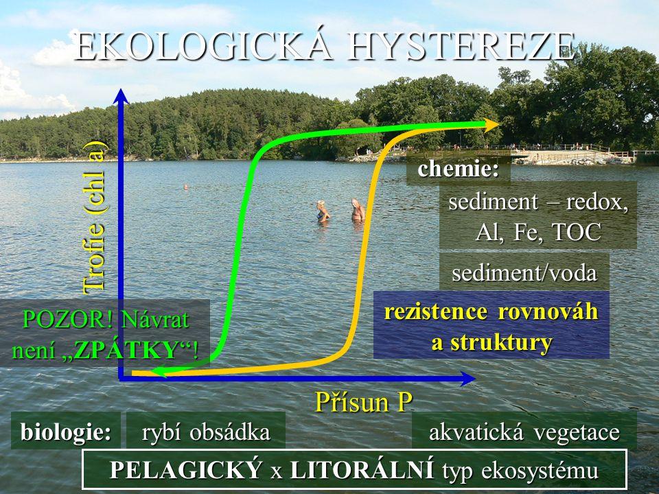 EKOLOGICKÁ HYSTEREZE rezistence rovnováh a struktury Trofie (chl a) Přísun P chemie: biologie: sediment – redox, Al, Fe, TOC sediment/voda rybí obsádk
