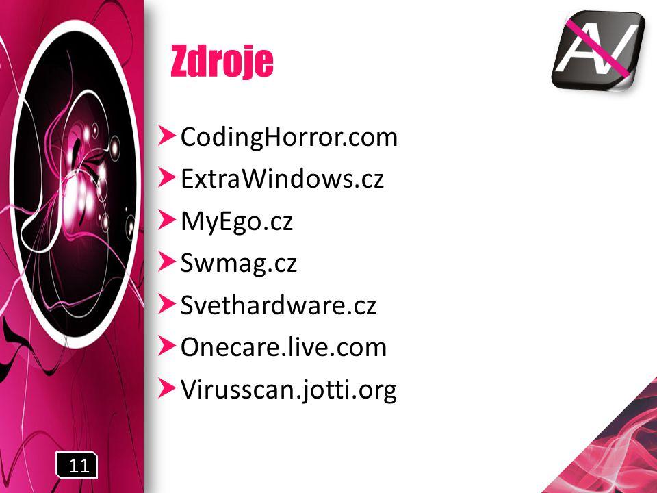 Zdroje  CodingHorror.com  ExtraWindows.cz  MyEgo.cz  Swmag.cz  Svethardware.cz  Onecare.live.com  Virusscan.jotti.org 11