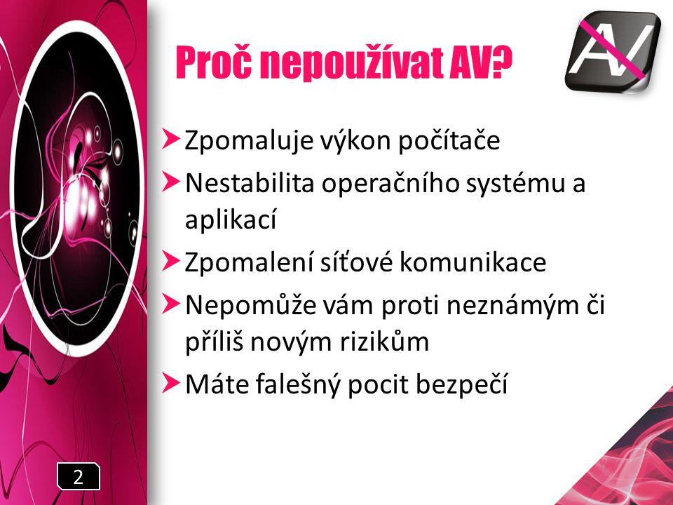 Proč nepoužívat AV.