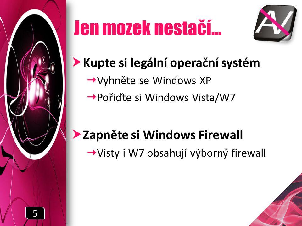 Jen mozek nestačí…  Kupte si legální operační systém  Vyhněte se Windows XP  Pořiďte si Windows Vista/W7  Zapněte si Windows Firewall  Visty i W7 obsahují výborný firewall 5