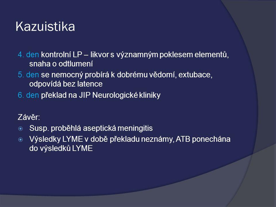 Kazuistika 4.den kontrolní LP – likvor s významným poklesem elementů, snaha o odtlumení 5.