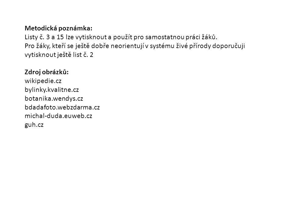 Metodická poznámka: Listy č. 3 a 15 lze vytisknout a použít pro samostatnou práci žáků. Pro žáky, kteří se ještě dobře neorientují v systému živé přír
