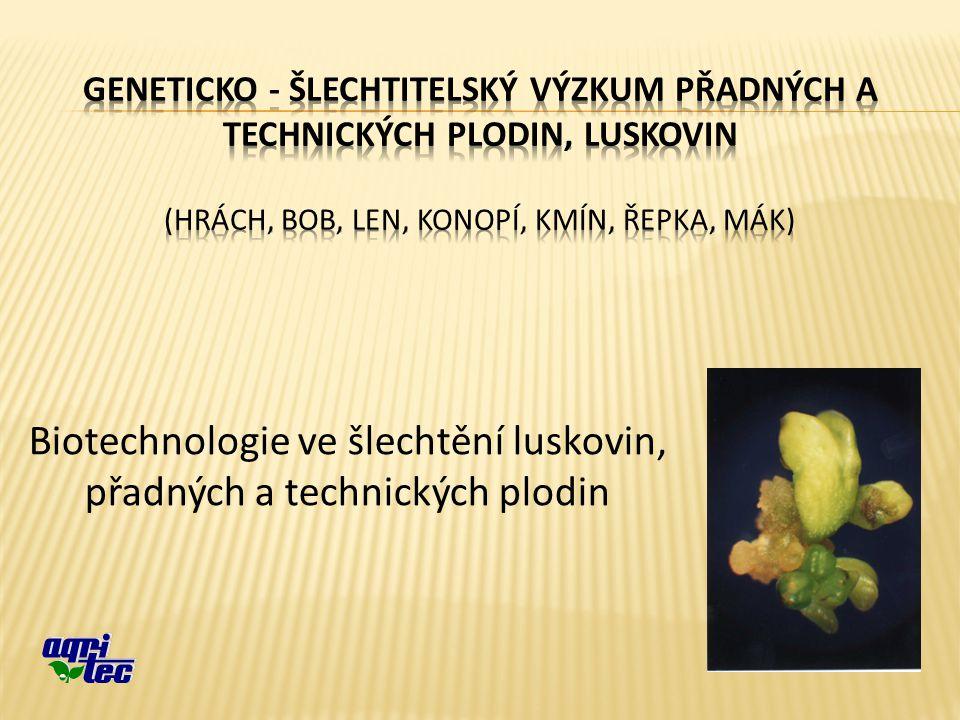 Biotechnologie ve šlechtění luskovin, přadných a technických plodin