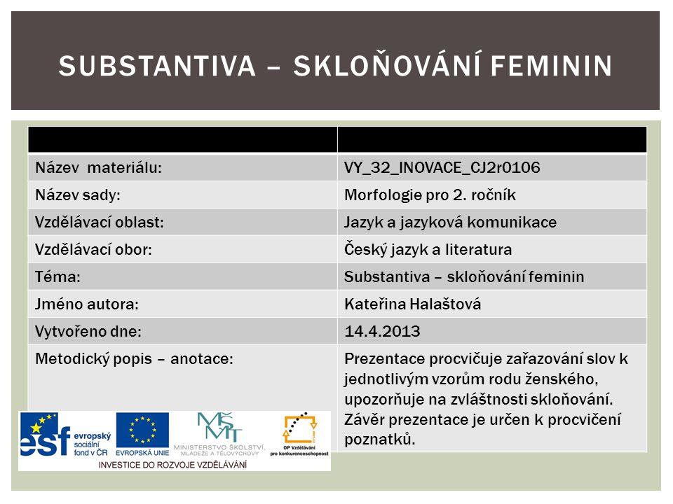 Název materiálu:VY_32_INOVACE_CJ2r0106 Název sady:Morfologie pro 2. ročník Vzdělávací oblast:Jazyk a jazyková komunikace Vzdělávací obor:Český jazyk a