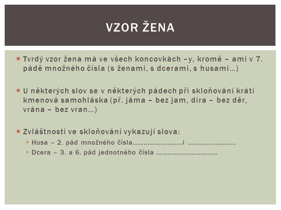  U některých slov se v některých pádech při skloňování krátí kmenová samohláska (př.