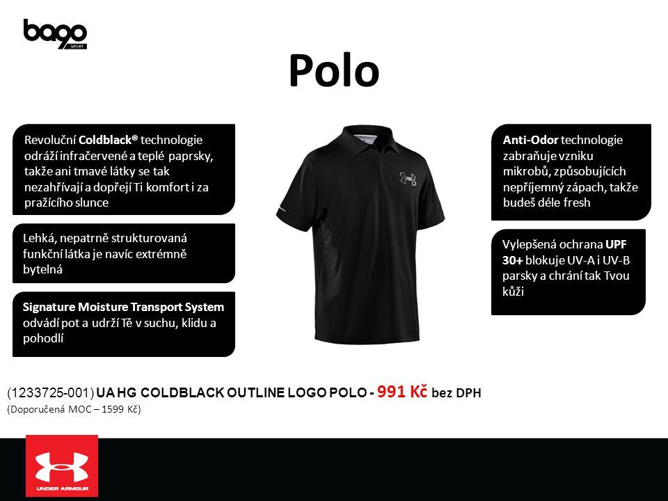 Polo (1233725-001) UA HG COLDBLACK OUTLINE LOGO POLO - 991 Kč bez DPH (Doporučená MOC – 1599 Kč) Lehká, nepatrně strukturovaná funkční látka je navíc