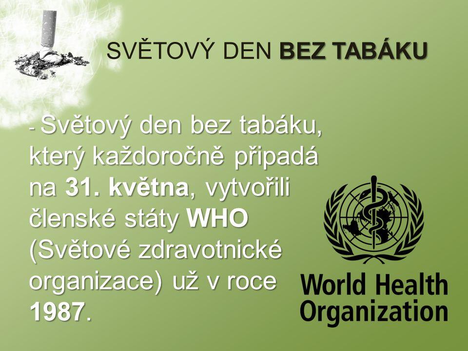 BEZ TABÁKU SVĚTOVÝ DEN BEZ TABÁKU - Světový den bez tabáku, který každoročně připadá na 31.