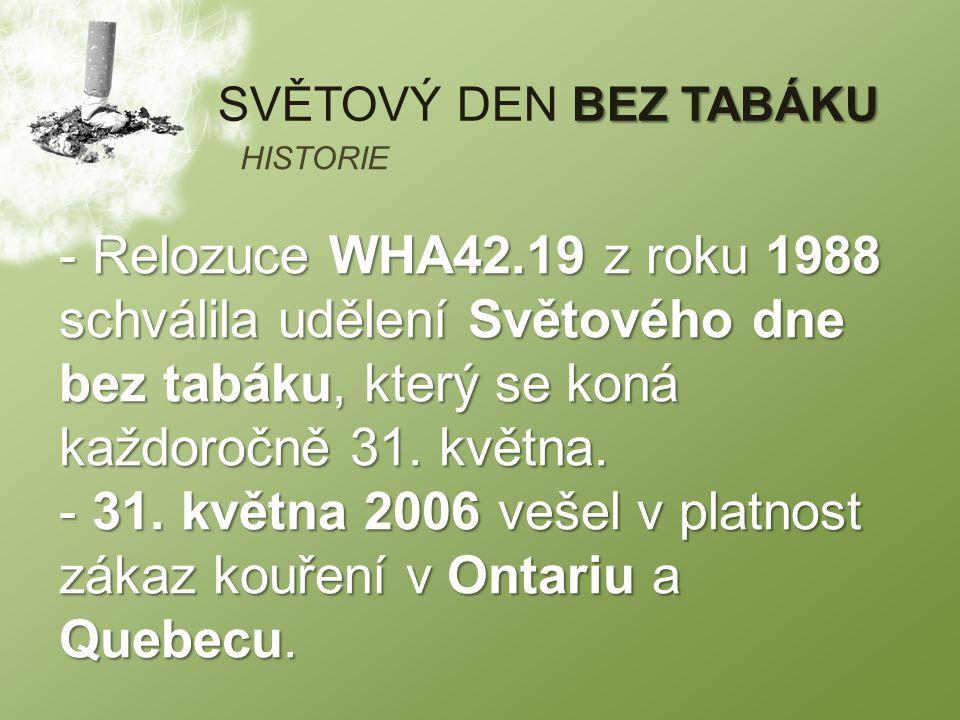 BEZ TABÁKU SVĚTOVÝ DEN BEZ TABÁKU - Relozuce WHA42.19 z roku 1988 schválila udělení Světového dne bez tabáku, který se koná každoročně 31.