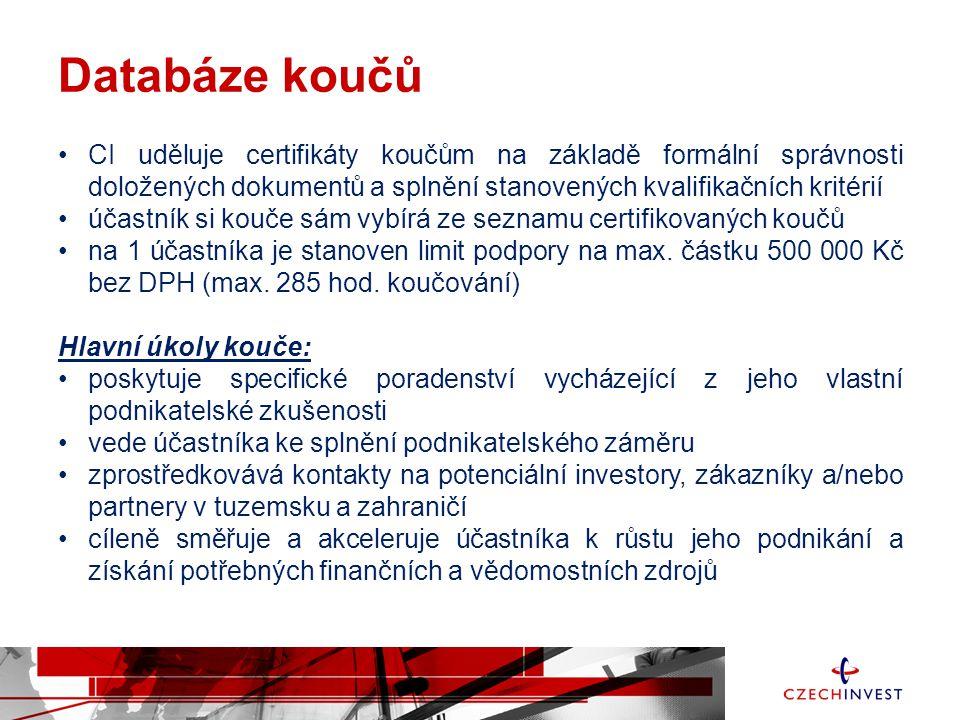Databáze koučů •CI uděluje certifikáty koučům na základě formální správnosti doložených dokumentů a splnění stanovených kvalifikačních kritérií •účast