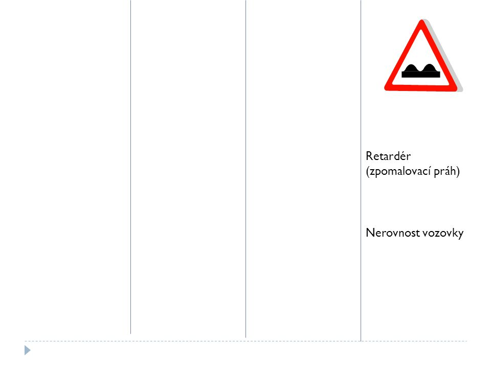 Retardér (zpomalovací práh) Nerovnost vozovky