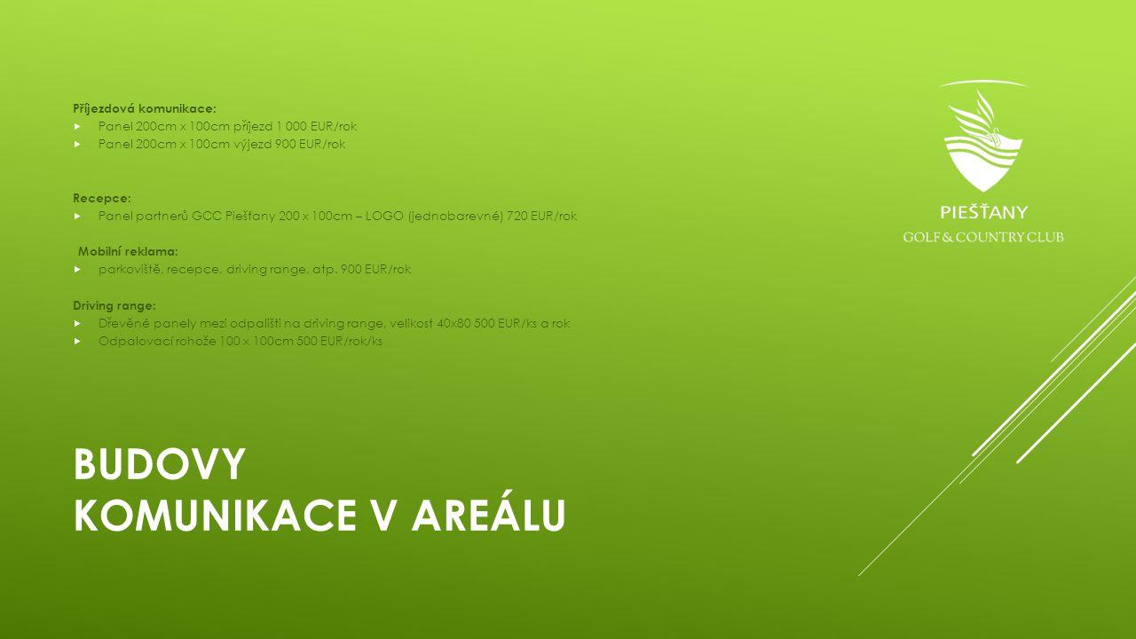 BUDOVY KOMUNIKACE V AREÁLU Příjezdová komunikace:  Panel 200cm x 100cm příjezd 1 000 EUR/rok  Panel 200cm x 100cm výjezd 900 EUR/rok Recepce:  Pane