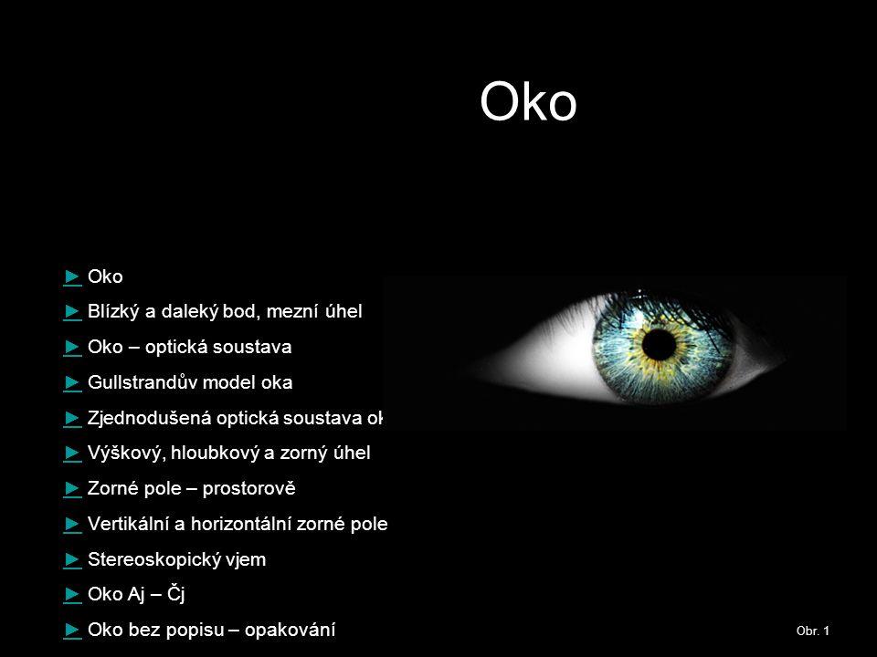 Oko ►► Oko ►► Blízký a daleký bod, mezní úhel ►► Oko – optická soustava ►► Gullstrandův model oka ►► Zjednodušená optická soustava oka ►► Výškový, hlo