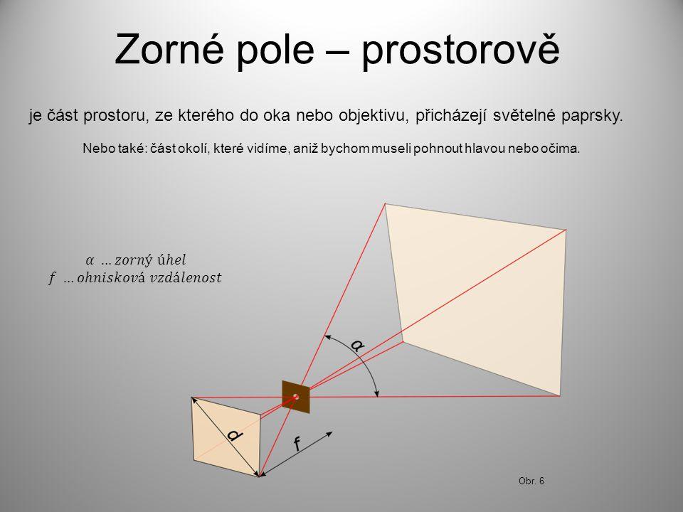 Zorné pole – prostorově je část prostoru, ze kterého do oka nebo objektivu, přicházejí světelné paprsky.