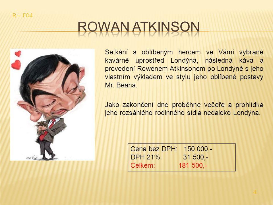 Setkání s oblíbeným hercem ve Vámi vybrané kavárně uprostřed Londýna, následná káva a provedení Rowenem Atkinsonem po Londýně s jeho vlastním výkladem ve stylu jeho oblíbené postavy Mr.