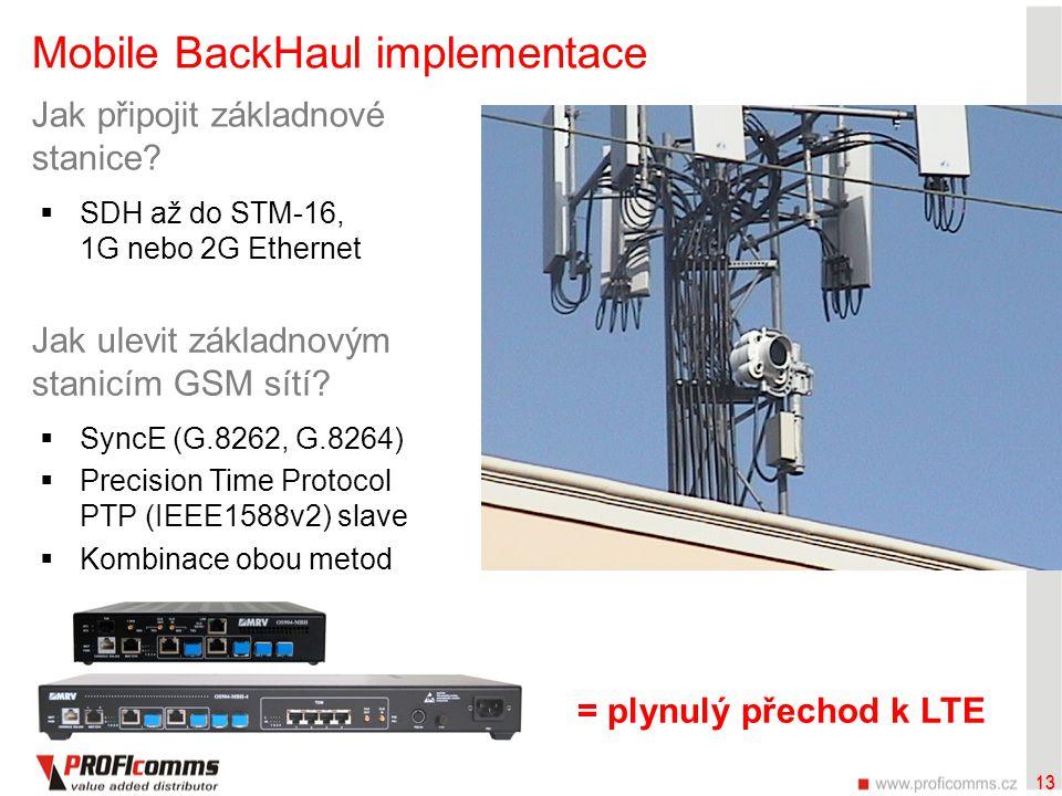 13 Mobile BackHaul implementace Jak ulevit základnovým stanicím GSM sítí?  SyncE (G.8262, G.8264)  Precision Time Protocol PTP (IEEE1588v2) slave 