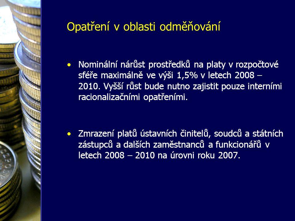 Opatření v oblasti odměňování •Nominální nárůst prostředků na platy v rozpočtové sféře maximálně ve výši 1,5% v letech 2008 – 2010. Vyšší růst bude nu