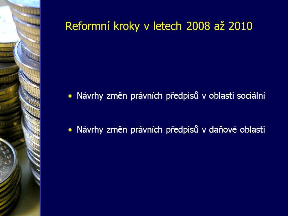 Reformní kroky v letech 2008 až 2010 •Návrhy změn právních předpisů v oblasti sociální •Návrhy změn právních předpisů v daňové oblasti