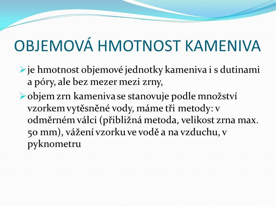 OBJEMOVÁ HMOTNOST KAMENIVA  je hmotnost objemové jednotky kameniva i s dutinami a póry, ale bez mezer mezi zrny,  objem zrn kameniva se stanovuje po