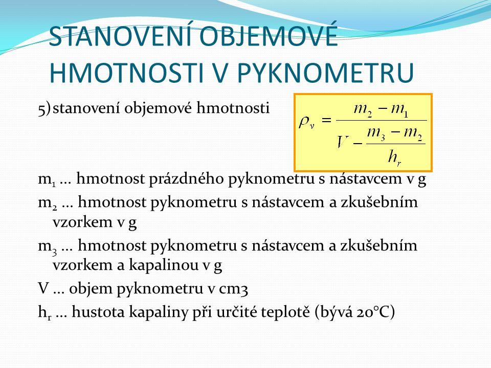 STANOVENÍ OBJEMOVÉ HMOTNOSTI V PYKNOMETRU 5)stanovení objemové hmotnosti m 1... hmotnost prázdného pyknometru s nástavcem v g m 2... hmotnost pyknomet