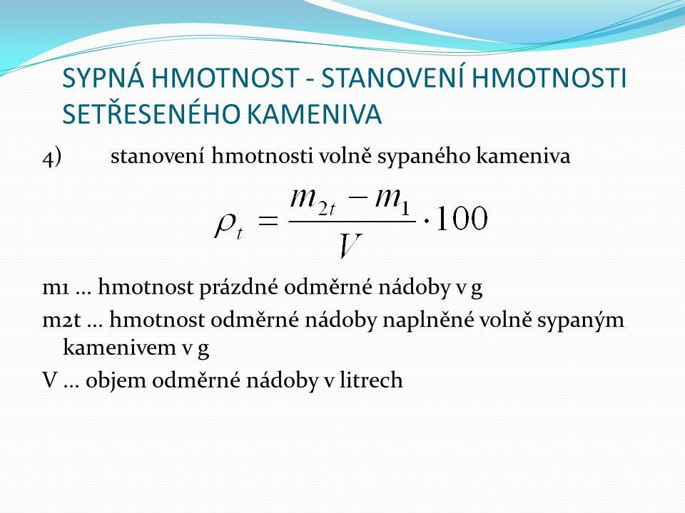 SYPNÁ HMOTNOST - STANOVENÍ HMOTNOSTI SETŘESENÉHO KAMENIVA 4)stanovení hmotnosti volně sypaného kameniva m1... hmotnost prázdné odměrné nádoby v g m2t.