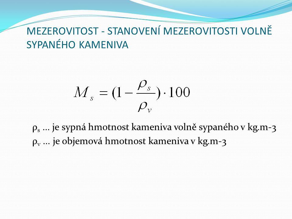 MEZEROVITOST - STANOVENÍ MEZEROVITOSTI VOLNĚ SYPANÉHO KAMENIVA ρ s... je sypná hmotnost kameniva volně sypaného v kg.m-3 ρ v... je objemová hmotnost k