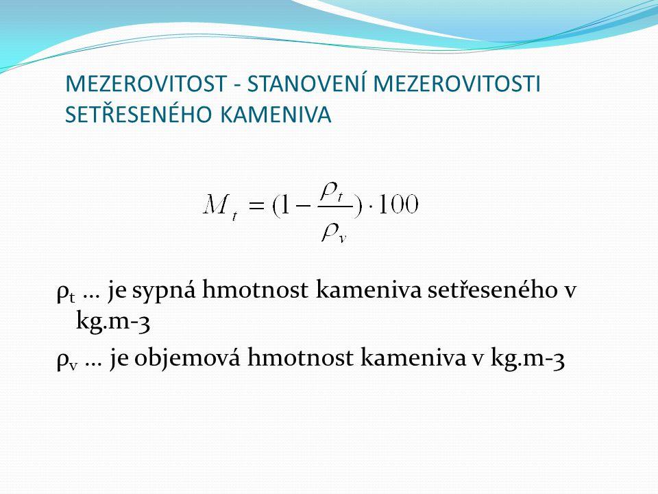 MEZEROVITOST - STANOVENÍ MEZEROVITOSTI SETŘESENÉHO KAMENIVA ρ t... je sypná hmotnost kameniva setřeseného v kg.m-3 ρ v... je objemová hmotnost kameniv