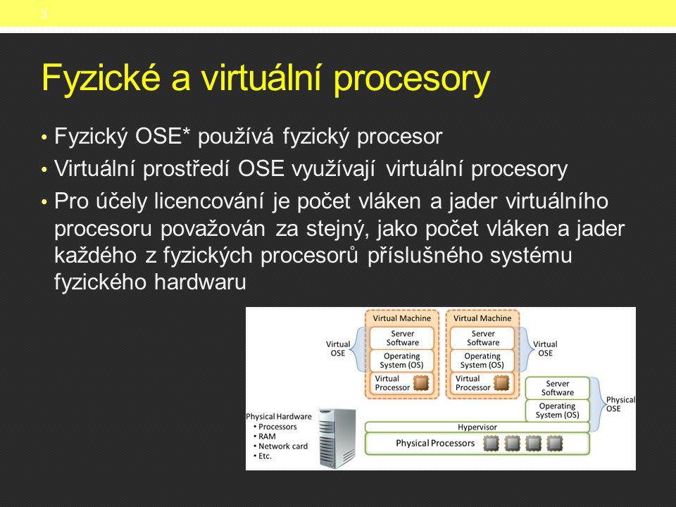 Fyzické a virtuální procesory • Fyzický OSE* používá fyzický procesor • Virtuální prostředí OSE využívají virtuální procesory • Pro účely licencování je počet vláken a jader virtuálního procesoru považován za stejný, jako počet vláken a jader každého z fyzických procesorů příslušného systému fyzického hardwaru 3