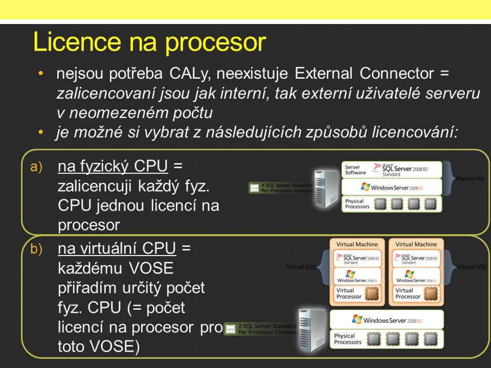 Licence na procesor a) na fyzický CPU = zalicencuji každý fyz. CPU jednou licencí na procesor b) na virtuální CPU = každému VOSE přiřadím určitý počet