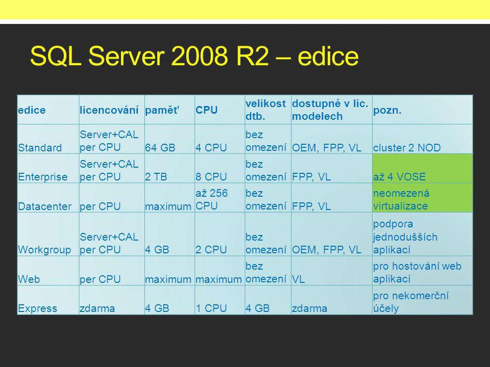 SQL Server 2008 R2 – edice edicelicencovánípaměťCPU velikost dtb. dostupné v lic. modelech pozn. Standard Server+CAL per CPU64 GB4 CPU bez omezeníOEM,