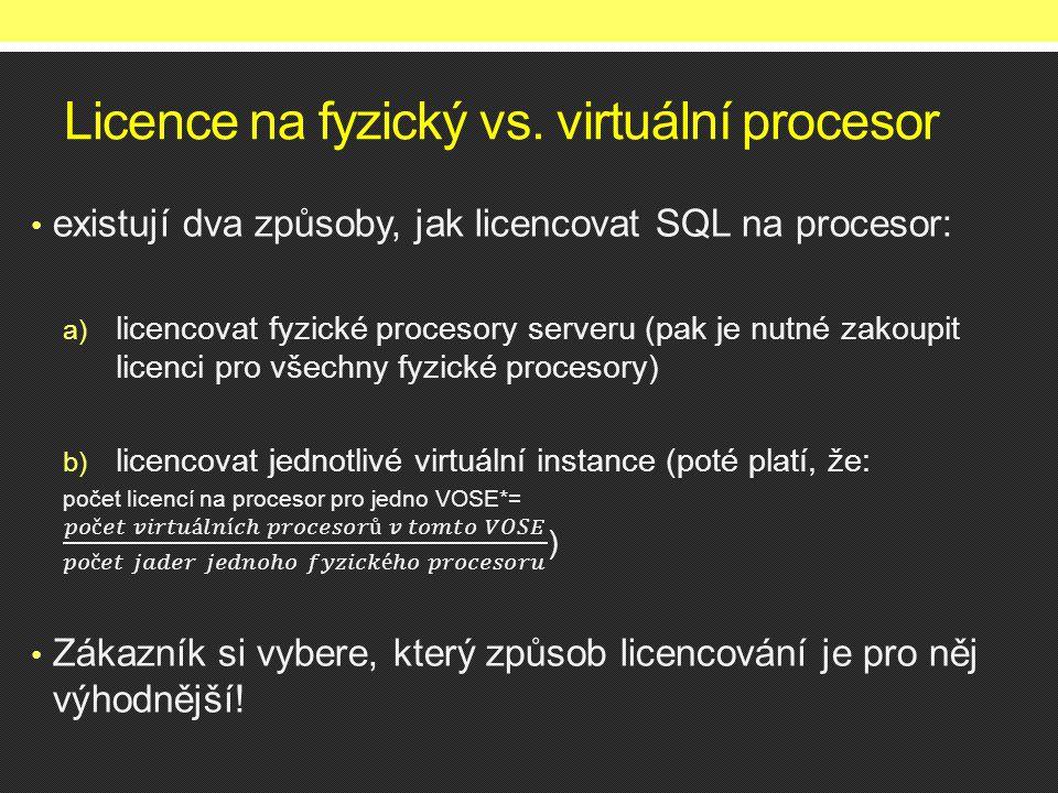 Licence na fyzický vs. virtuální procesor