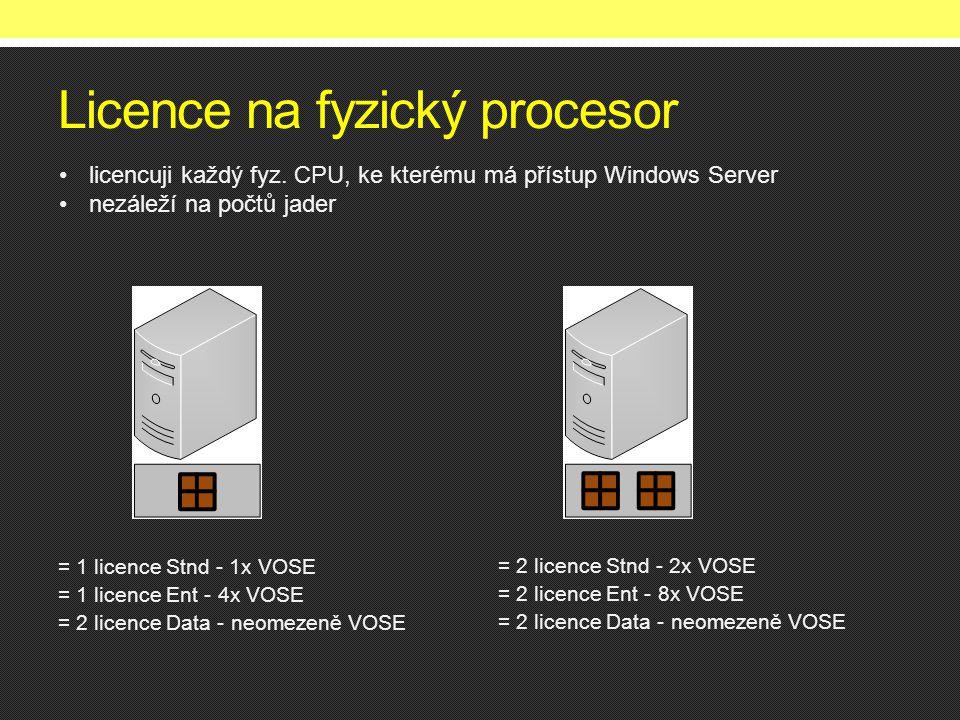 Licence na fyzický procesor = 1 licence Stnd - 1x VOSE = 1 licence Ent - 4x VOSE = 2 licence Data - neomezeně VOSE = 2 licence Stnd - 2x VOSE = 2 licence Ent - 8x VOSE = 2 licence Data - neomezeně VOSE •licencuji každý fyz.