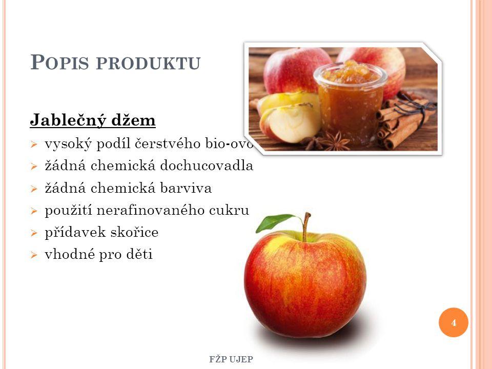 P OPIS PRODUKTU Jablečný džem  vysoký podíl čerstvého bio-ovoce  žádná chemická dochucovadla  žádná chemická barviva  použití nerafinovaného cukru