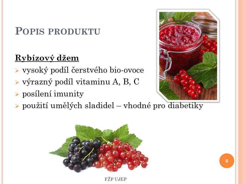 POPIS PRODUKTU 100%-ní jablečný džus  významný zdroj minerálních látek  vysoký obsah vitaminů 30%-ní rybízový džus  bez konzervantů  vysoký obsah vitaminu C  bez přídavku cukru a barviv 7 FŽP UJEP