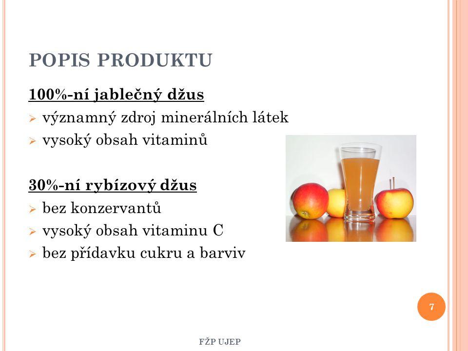 POPIS PRODUKTU 100%-ní jablečný džus  významný zdroj minerálních látek  vysoký obsah vitaminů 30%-ní rybízový džus  bez konzervantů  vysoký obsah
