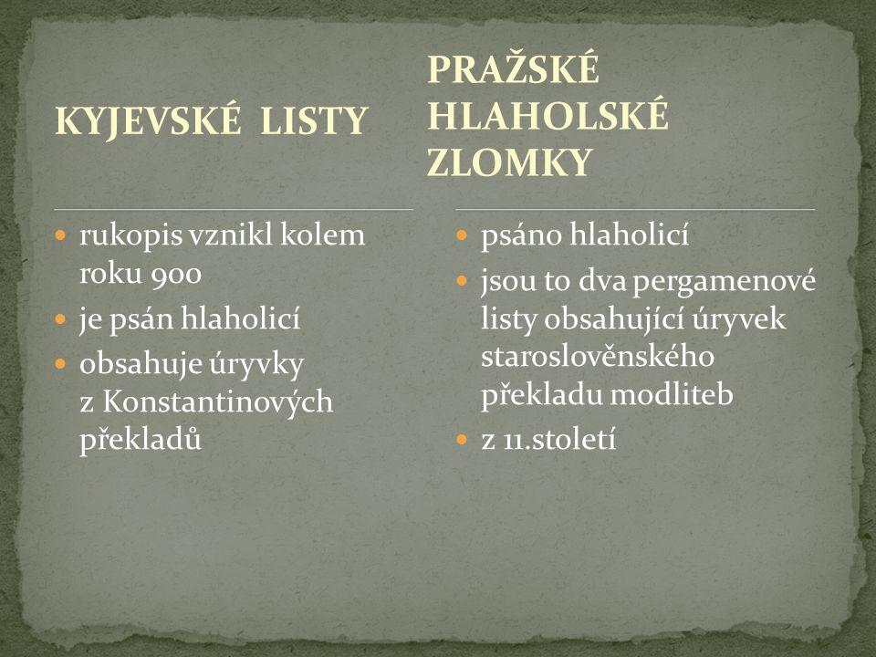 KYJEVSKÉ LISTY  rukopis vznikl kolem roku 900  je psán hlaholicí  obsahuje úryvky z Konstantinových překladů  psáno hlaholicí  jsou to dva pergam