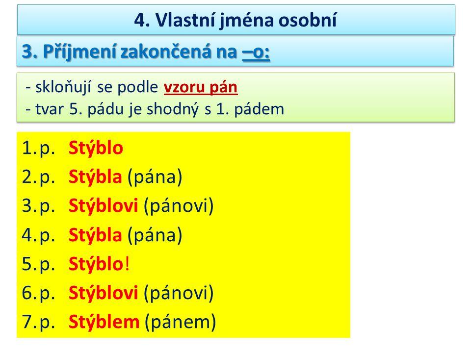 3.Příjmení zakončená na –o: - skloňují se podle vzoru pán - tvar 5.