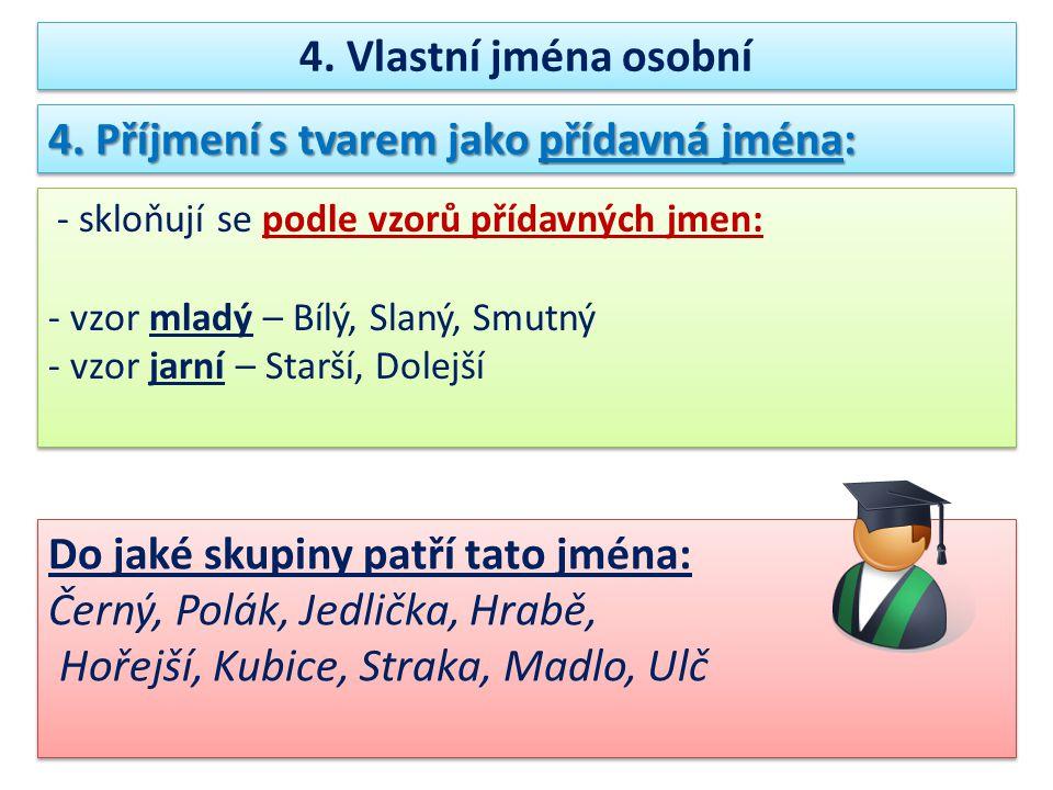 4. Příjmení s tvarem jako přídavná jména: - skloňují se podle vzorů přídavných jmen: - vzor mladý – Bílý, Slaný, Smutný - vzor jarní – Starší, Dolejší