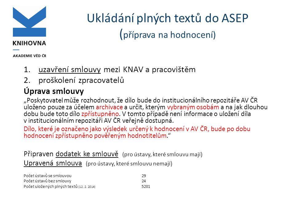 """Ukládání plných textů do ASEP ( příprava na hodnocení) 1.uzavření smlouvy mezi KNAV a pracovištěm 2.proškolení zpracovatelů Úprava smlouvy """"Poskytovatel může rozhodnout, že dílo bude do institucionálního repozitáře AV ČR uloženo pouze za účelem archivace a určit, kterým vybraným osobám a na jak dlouhou dobu bude toto dílo zpřístupněno."""