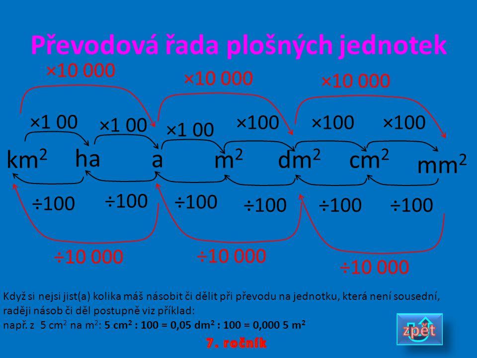 Převodová řada plošných jednotek km 2 m2m2 dm 2 cm 2 mm 2 ×1 00 ÷100 ×10 000 ÷10 000 ha a ×1 00 ÷100 ×10 000 ÷10 000 Když si nejsi jist(a) kolika máš
