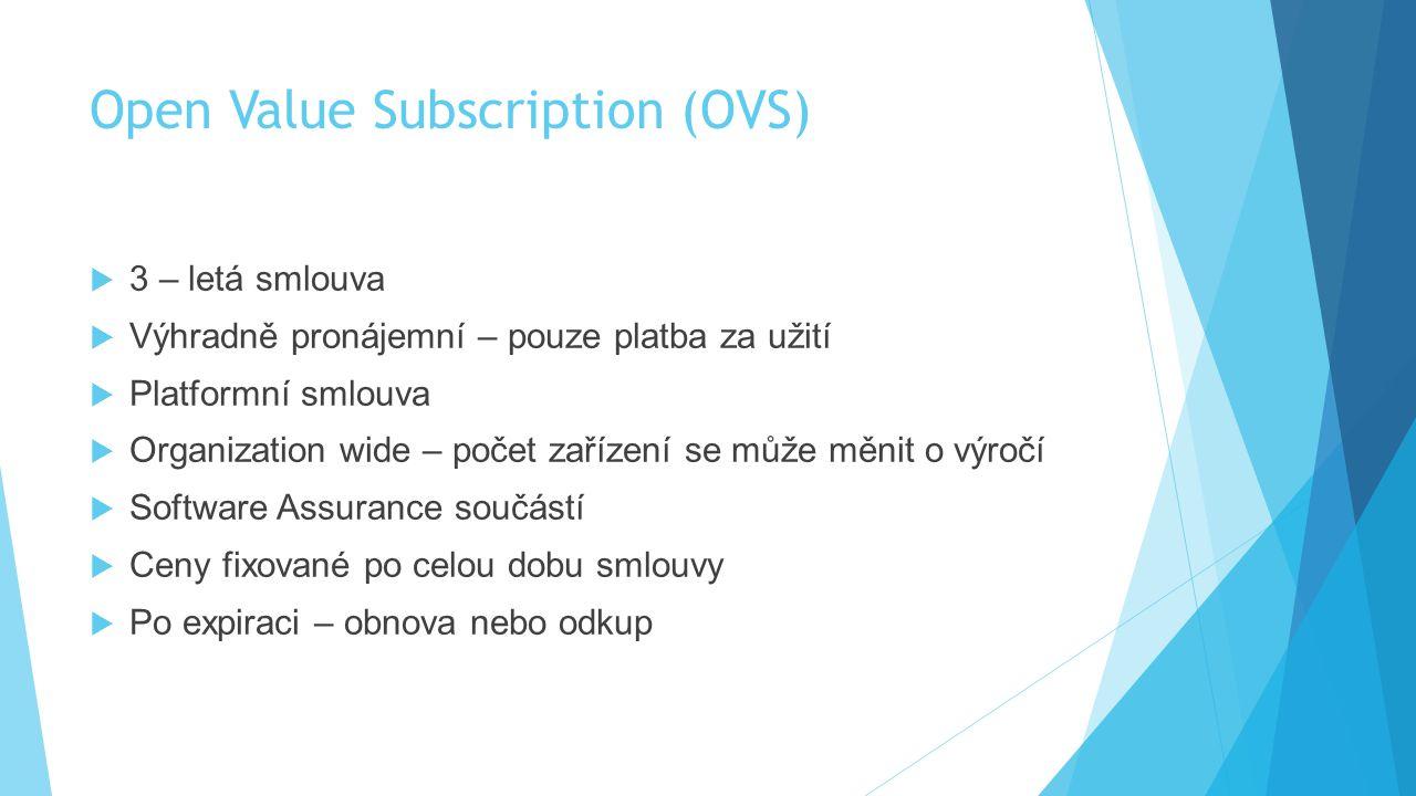 Open Value Subscription (OVS)  3 – letá smlouva  Výhradně pronájemní – pouze platba za užití  Platformní smlouva  Organization wide – počet zaříze