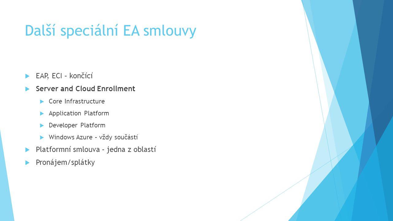 Další speciální EA smlouvy  EAP, ECI – končící  Server and Cloud Enrollment  Core Infrastructure  Application Platform  Developer Platform  Wind