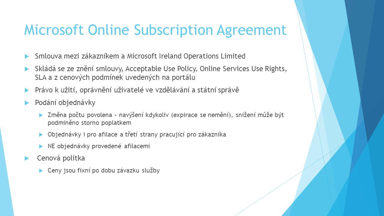 Microsoft Online Subscription Agreement  Smlouva mezi zákazníkem a Microsoft Ireland Operations Limited  Skládá se ze znění smlouvy, Acceptable Use